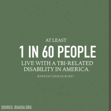 At least 5.3 million Americans live with a TBI related disability. That's one in every 60 people.